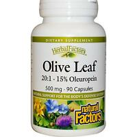 Natural Factors - Olive Leaf Extract - 90 X 500mg Caps - 15% Oleuropein