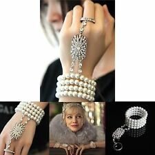 New The Great Gatsby Bangle Ring Braut Armband Rhinestone Strass Pearl Bracelet