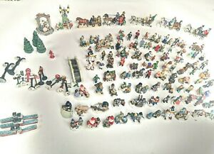Lot of 111 Vintage Christmas Village Ceramic Figurines Accessories See Pictures