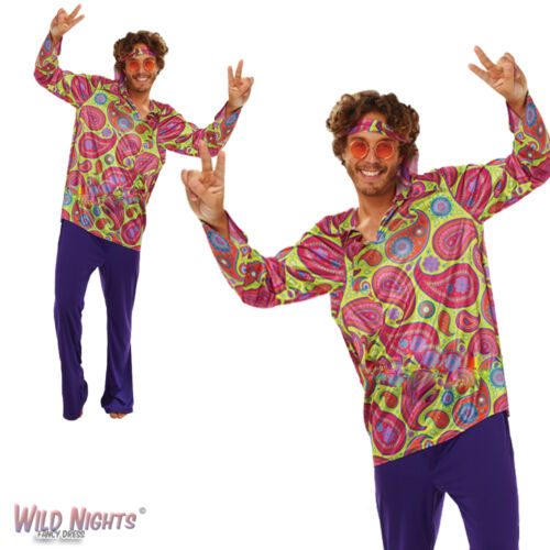 "FANCY DRESS COSTUME ~ ADULT MENS 1970s HIPPIE GUY 38/""-46/"""