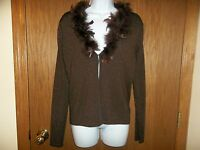 Women's Dress Barn Brown Sweater Feathers Long Sleeves Small Msp $44.99