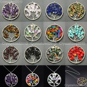 Natural-Gemstones-Mixed-Colorful-Chips-Tree-of-Life-Healing-Pendant-Necklaces