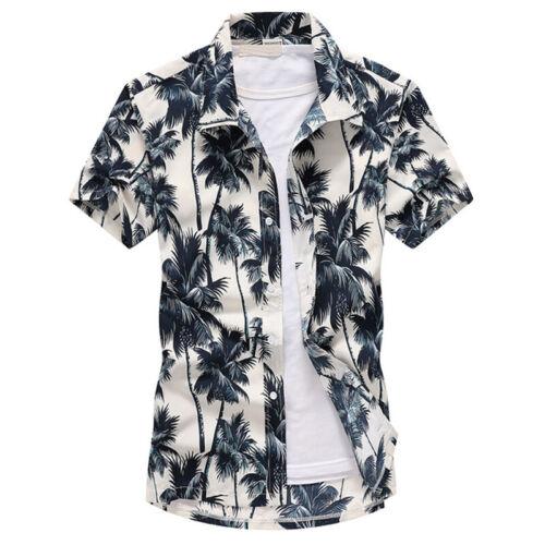 Mens Floral Hawaiian Shirts Party Casual Hawaii Summer Beach Tee Tops Holiday UK