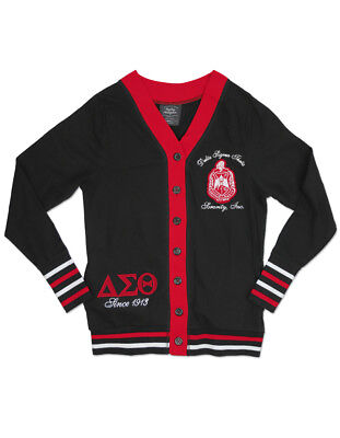 Delta Sigma Theta Sorority 1913 Red Black Light Cardigan Sweater Oo