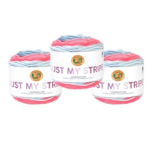 Bubblegum Pack of 3 Cakes Lion Brand Yarn 502-611 Just My Stripe Yarn