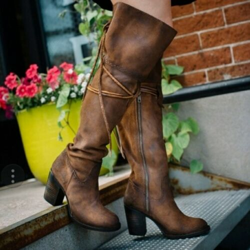 FREEBIRD Brown Suede Leather 'Brock' Over-The-Knee