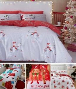 Catherine Lansfield Christmas Duvet Cover Bedding Bed Sets Xmas Festive Santa
