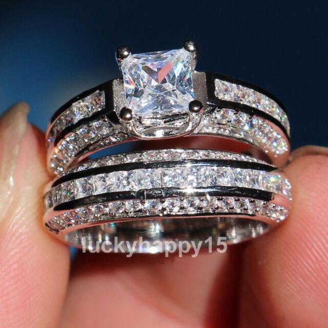 18K White Gold Filled Princess Cut Topaz Gemstone Women Wedding Engagement Ring