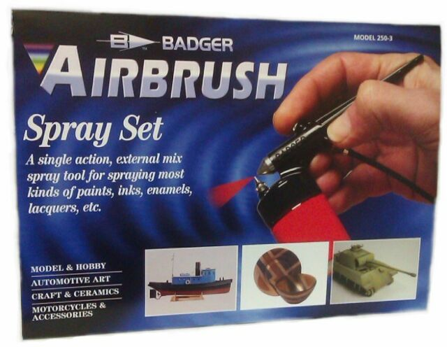 Badger Model 250-3 STARTER KIT Single Action External Mix Airbrush with Gas Can