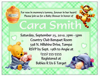 20 Winnie The Pooh Baby Shower Invitations Green