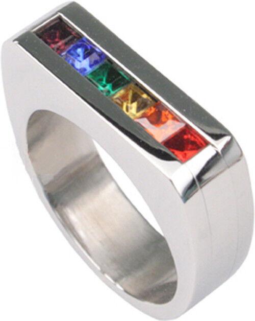 Pride Shack - Rainbow Flat Top Ring LGBT Lesbian Gay Pride Ring Stainless Steel
