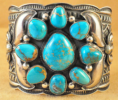 Navajo Sterling Silver Royal Blue Turquoise Cluster Cuff Bracelet Andy Cadman
