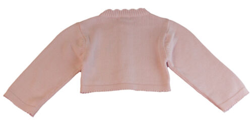 JACADI Girl/'s Balade Pale Pink Long Sleeve Cotton Cardigan Sz 6 Months NWT $48