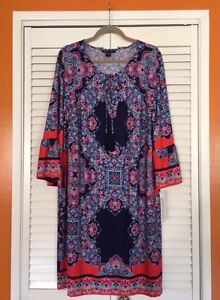 XL-1X-2X-New-Navy-Blue-Coral-Red-White-Aqua-Peasant-Top-Floral-Boho-Tunic-Dress