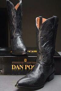 Dan-Post-Men-039-s-10-D-Raleigh-Black-Teju-Lizard-Leather-Cowboy-Western-Dance-Boots