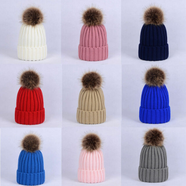 680f16278 Children Kids Baby Boys Adult Winter Knitted Beanie Ski Hat Faux Fur Bobble  Hats