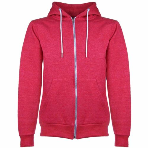 Kids Boys Girls Unisex Plain Fleece Hoodies Zip Up Style Zipper Age 7-13 Years