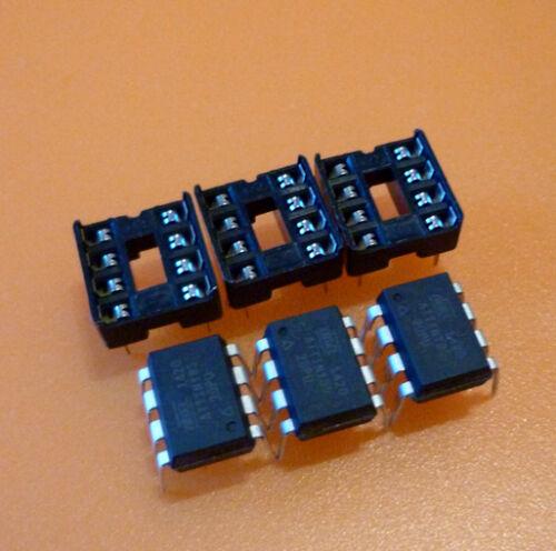3x ATMEL ATtiny 45-20pu and 3x DIL Socket