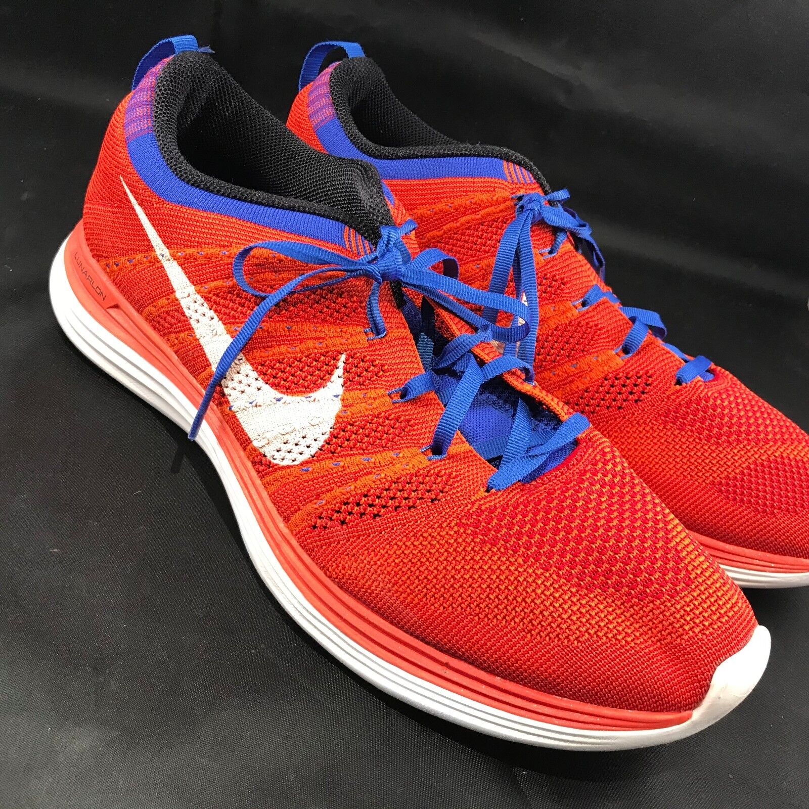 Excellent NIKE FLYKNIT LUNAR 1 Red White Uomo size 11.5 45.5 EUR