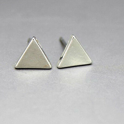1 Pair Exquisite Vogue Simple Triangle Style Lady Stud Club Earrings 3 Color