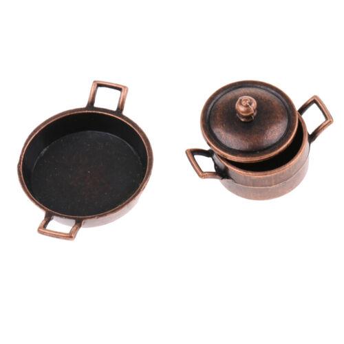 5pcs Metal Pots Pants Set 1:12 Dollhouse Miniature Kitchen Cookware