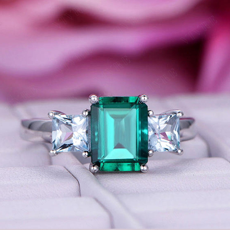 3.00ct Green Emerald and Aquamarine Three Stone Engagement Ring 14k White gold