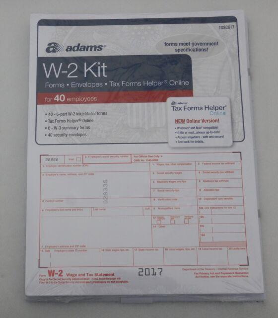 2017 40 Employee Adams W 2 W2 Kit 6 Part Irs Tax Forms Laser Inkjet