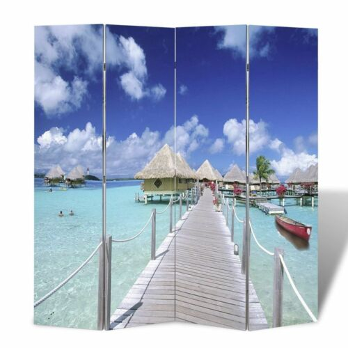 Room Divider Double Sided Differ Print Beach//Flower Wood Frame Foldable 4 Sizes❤