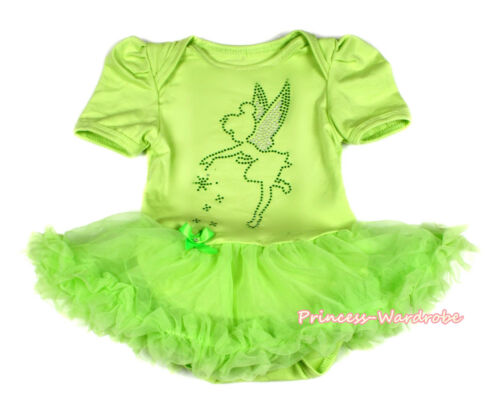 Rhinestone Tinker Bell Lime Green Bodysuit Lime Green Skirt Baby Dress NB-12M