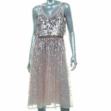 FRENCH CONNECTION Women Pink Lined Sequins Dress Size 4