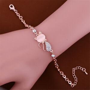 Charm-Cute-Cat-Rose-Gold-Chain-Crystal-Rhinestone-Bangle-Bracelet