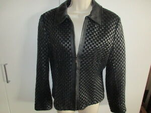 e7b4c676ee CHADWICK S  WOVEN  LEATHER Jacket ~Beautiful~ BLACK Size Small Lined ...