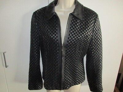 2703dd334 CHADWICK'S *WOVEN* LEATHER Jacket ~Beautiful~ BLACK Size Small Lined EUC!!    eBay
