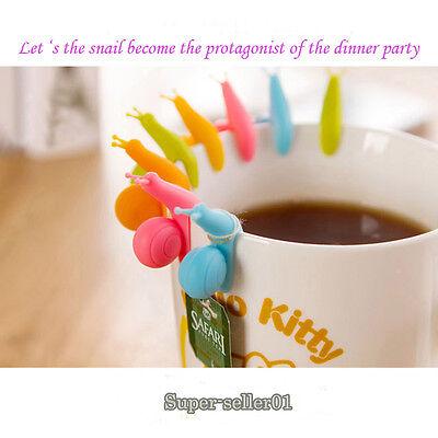 5pcs Exquisite Snail Shape Silicone Tea Bag Holder Cup Mug Candy Colors Cute