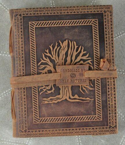Notizbuch Tagebuch Echt Büffel Leder braun Prägung 20,5 x 16 x 3,8 Handgeschöpft
