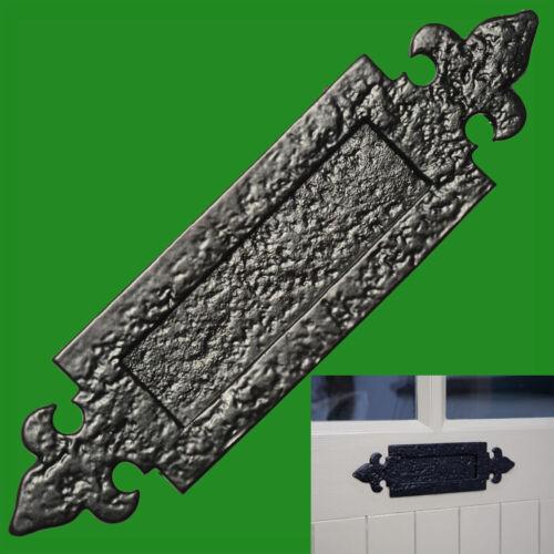 Antik Briefkasten Klappe Schwarz Poliert Metall Jakobslilie Gotik Post Platte