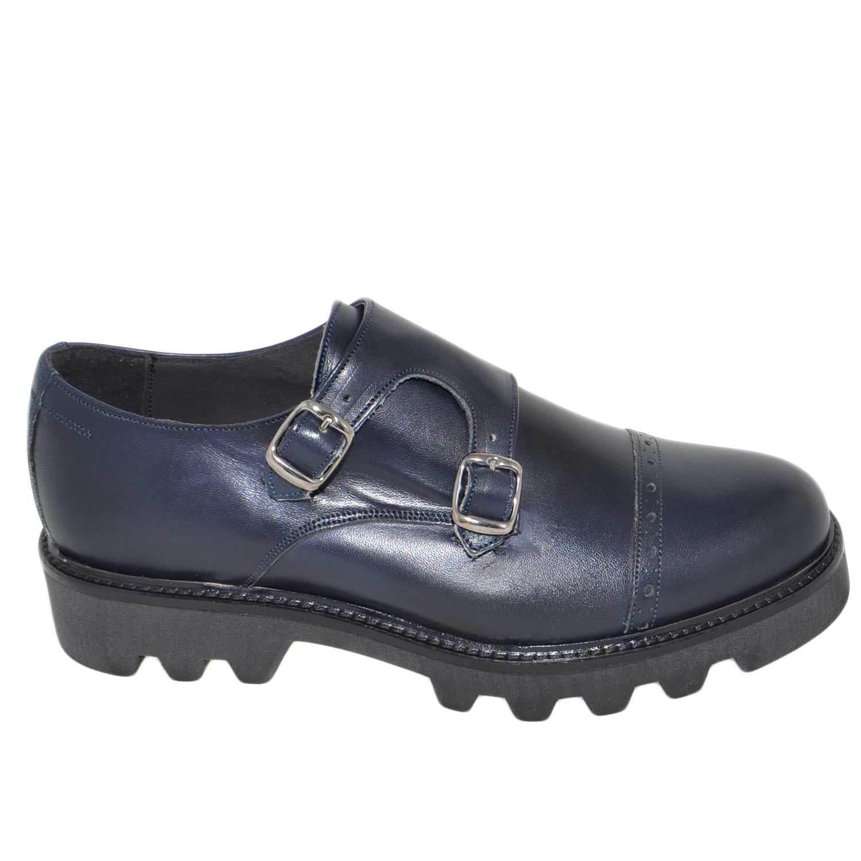 Calzature uomo art 9677 doppia blu fibbia vera pelle crust blu doppia fondo imperial antisc 4e9a89