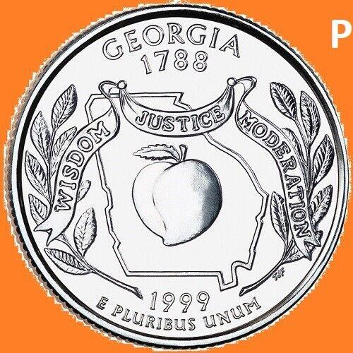 1999 P Georgia Quarter 50 State Statehood Philadelphia ~ UNC Uncirculated 2nd