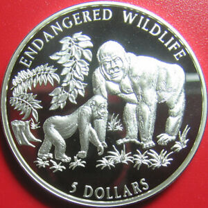 1996-COOK-ISLANDS-5-SILVER-PROOF-FEMALE-GORILLA-amp-OFFSPRING-WILDLIFE-RARE-COIN