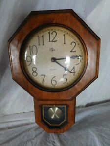 Vintage Elgin Regulator Pendulum Clock Wall Wood Oak