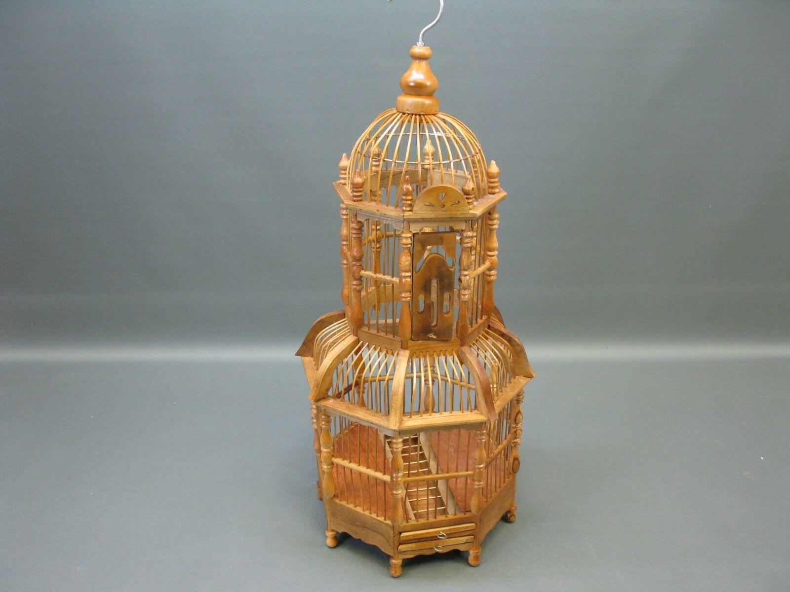Bois Bambou Asiatique Cage à Oiseaux Volière Artisanat Maison D'Oiseau 60 Cm