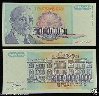 LOT 10 banknotes P137-500 Billion Dinara 1993 HYPERINFLATION F-VF Yugoslavia