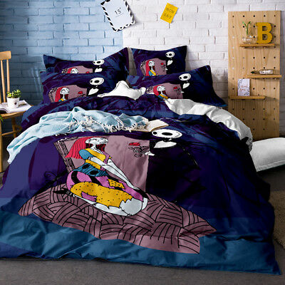 3D Nightmare Before Christmas Jack Sally Moon Duvet Cover Bedding Set Halloween