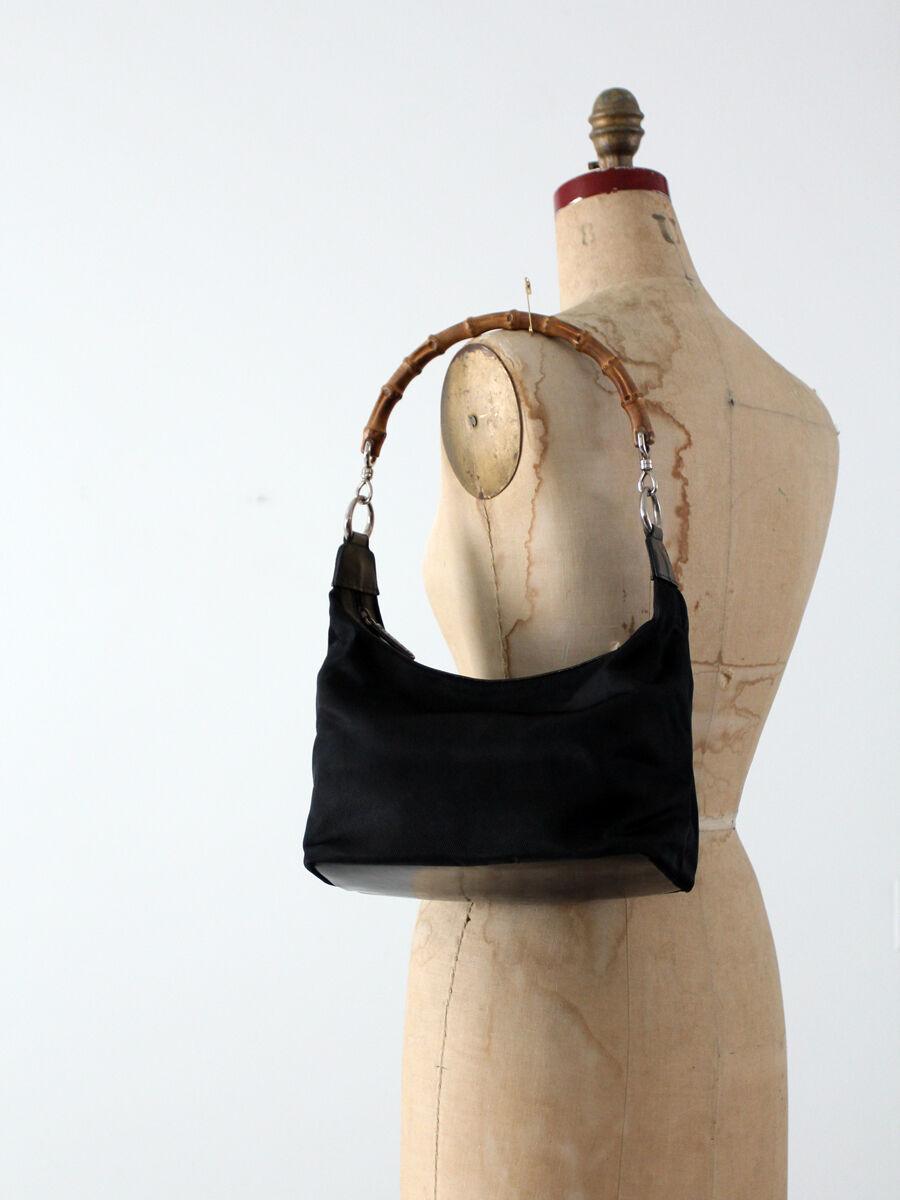 Gucci diana bag with bamboo handle, black nylon s… - image 3