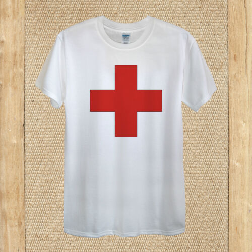 Red cross T-shirt design vintage play stag party fancy men women fitted