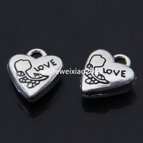 15pc Tibetan Silver Charms 2-Sided Heart LOVE Rose Pendant Jewellery Craft PL227
