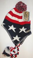 Usa American Flag Dakota Dan Patriot Chullo Cap Beanie Knit Winter Stocking Hat