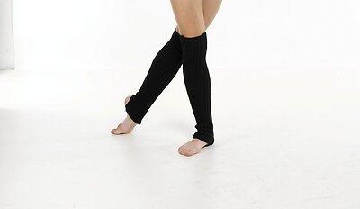 60CM DANCE/BALLET PLAIN ACRYLIC STIRRUP LEG WARMERS IN PINK/WHITE/BLACK/BLUE