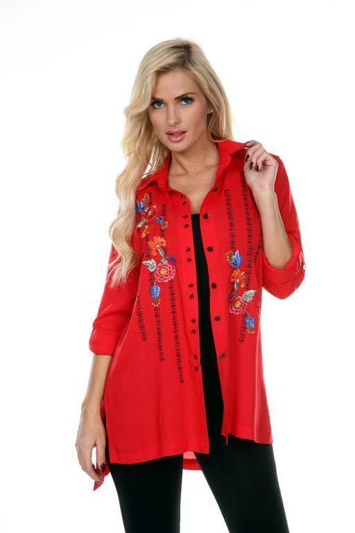 Woherren Shirt Blouse Top rot Revelry Embroiderot Beads Button Front Krista Lee