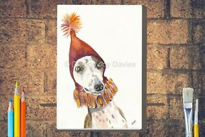 Funny-Whippet-in-Party-Hat-Canvas-A4-A3-A2-A1-Dog-Birthday-Mothers-Day-Gift